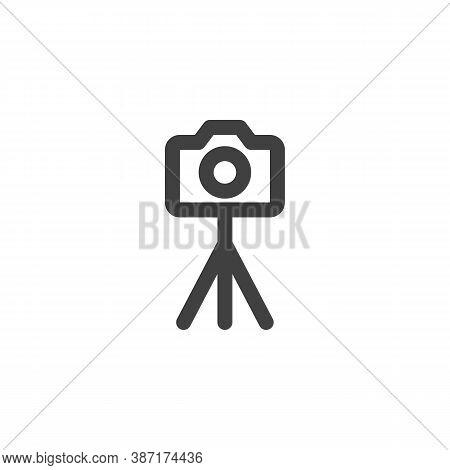 Camera On Tripod Line Icon. Linear Style Sign For Mobile Concept And Web Design. Portable Camera Sta