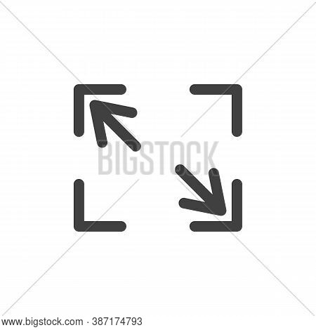 Full Screen Line Icon. Linear Style Sign For Mobile Concept And Web Design. Maximize Arrows Outline