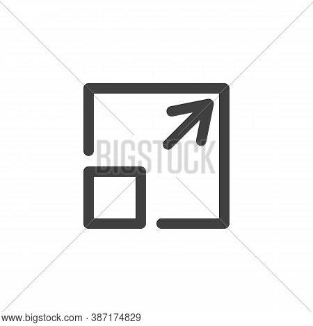 Maximize Arrow Line Icon. Linear Style Sign For Mobile Concept And Web Design. Enlarge Outline Vecto