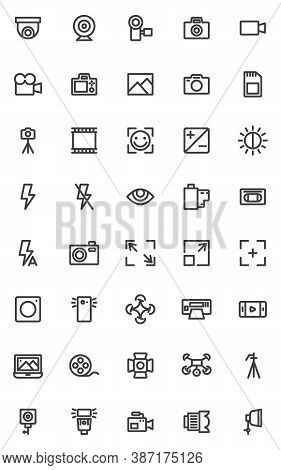 Photo And Video Line Icons Set. Linear Style Symbols Collection, Outline Signs Pack. Vector Graphics