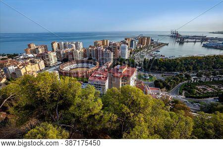 MALAGA, SPAIN - SEP 28, 2020: Malaga, Spain. Cityscape Topped View Of Malaga
