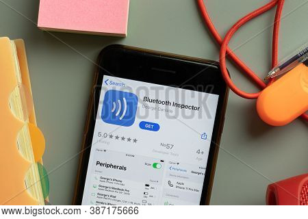 New York, Usa - 28 September 2020: Bluetooth Inspector Mobile App Logo On Phone Screen Close Up, Ill