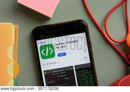 New York, Usa - 28 September 2020: Jedona Compiler For Java Mobile App Logo On Phone Screen Close Up