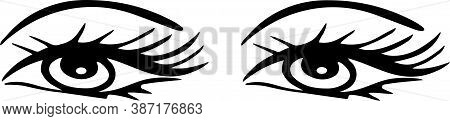 Eye Icon Isolated On White Background , Vector, View, Vision, Woman