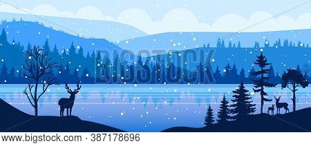 Winter Panoramic Vector Landscape With Snow, Reindeer, Hills, Forest Outline, Frozen Lake. Christmas