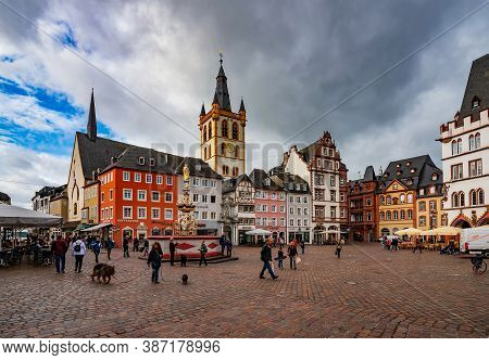 Trier, Germany - October 11, 2019: Historical Main Market Square In The Old Town Of Trier, Germany.