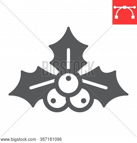 Christmas Holly Berry Glyph Icon, Merry Christmas And Xmas, Holly Tree Sign Vector Graphics, Editabl