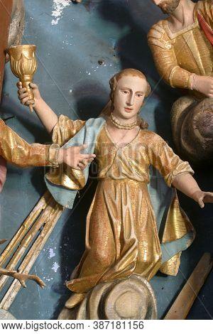 KRAPINA, CROATIA - JULY 01, 2013: Saint Barbara statue on the altar Fourteen holy helpers in Church of Our Lady of Jerusalem at Trski Vrh in Krapina, Croatia