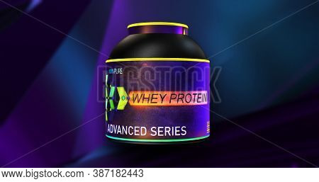 Whey Protein Supplement Container. Whey Protein Colorful Sport Dietary Nutrition Package, 3d Illustr
