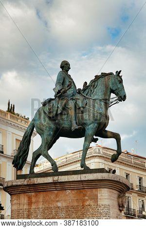 King Carlos III statue on horseback in Puerta del Sol in Madrid, Spain.