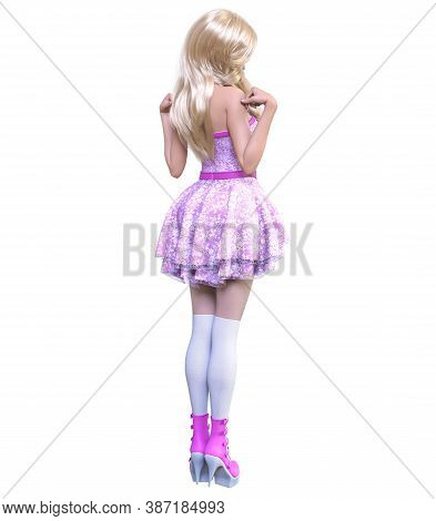 Young Beautiful Goth Girl With Doll Face Posing Photo Shoot. Short Pink Dress, Stockings, Shoes. Lon