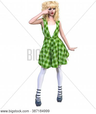 Young Beautiful Goth Girl With Doll Face Posing Photo Shoot. Green Dress, Stockings, Shoes. Long Blo
