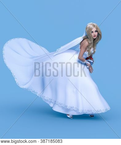 Beautiful Woman In White Wedding Dress.wedding Fashion Clothes Collection.bright Makeup.woman Studio