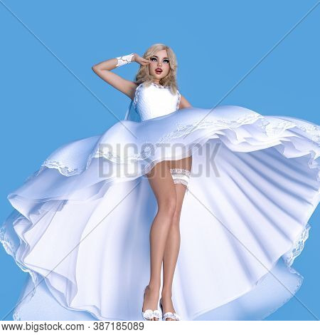 Beautiful Woman In Wind Waves White Wedding Dress.wedding Fashion Clothes Collection.bright Makeup.w