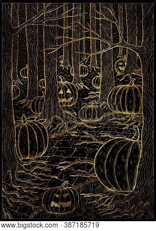 Black And Gold Textured Illustration With Path Or Trailway, Scary Pumpkin Head And Lanterns Hiding B