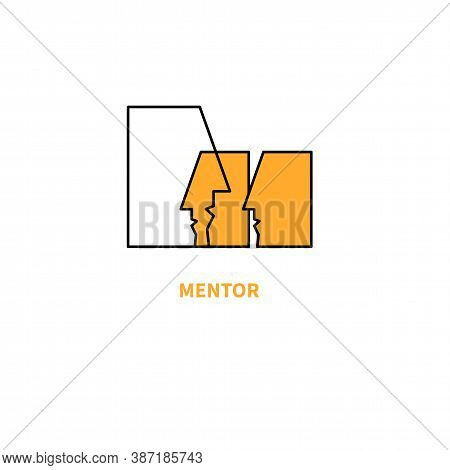 Mentor Logo. Coaching Icon, People Profiles. Symbol Of Coach