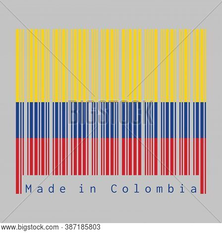 Barcode Set The Color Of Colombia Flag, Tricolor Of Yellow Blue And Red On White Background, Text: M