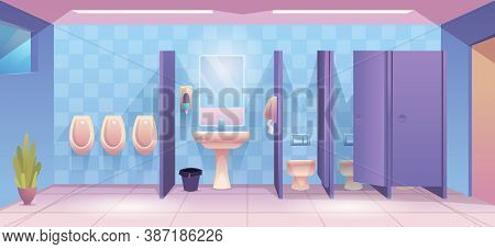 Public Toilet. Empty Cleaning Room Wc For Male And Female Person Clean Toilet Interior Vector Cartoo