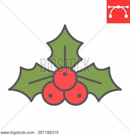 Christmas Holly Berry Color Line Icon, Merry Christmas And Xmas, Holly Tree Sign Vector Graphics, Ed