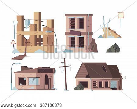 Abandoned Houses. Old Trouble Damaged Facade Decayed Exterior Destroyed Buildings Vector Flat Pictur