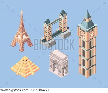 Landmarks Isometric. World Famous Buildings Travelling Symbols Bridges Pyramid Towers Vector. Pyrami