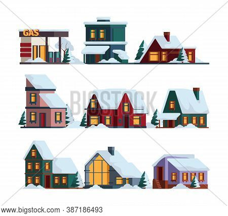 Snow Cap House. Winter Christmas Architecture Modern Buildings In Snowfall Vector Cottage Illustrati