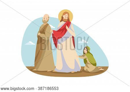 Religion, Bible, Christianity Concept. Young Desperate Woman Girl Begging Jesus Christ Son Of God Bi