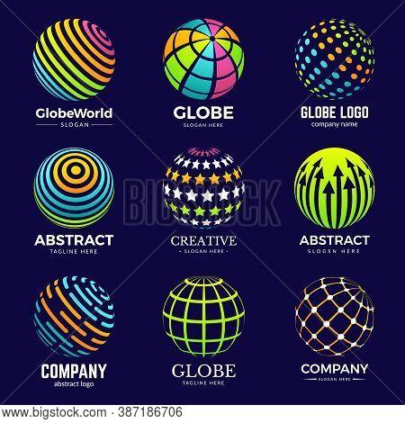 Globe Logo. Stylized Circle Shapes For Business Identity Projects Education Biology Innovation Logo