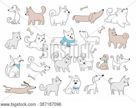 Dogs Characters. Funny Domestic Animals Playing Puppy With Toys Friendly Smile Dogs Vector Pictures.