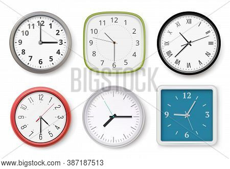 Realistic Clocks. Modern Wall Clocks Business Chronometer Dial Arrows Light And Dark Templates. Coll