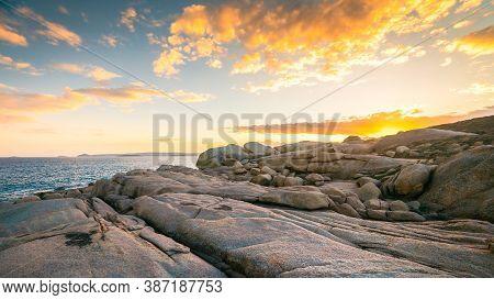 Rocky Bay Coastline At Sunset, Port Elliot, Fleurieu Peninsula, South Australia