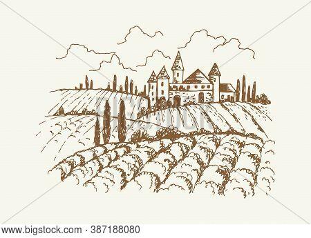 Italian Vineyard Landscape. Sketch Of Vintage Medieval House And Garden, Trees Or Vine Plantation. R