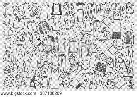 Womens Clothing Doodle Set. Collection Of Hand Drawn Sketches Templates Patterns Woman Clothing Trou