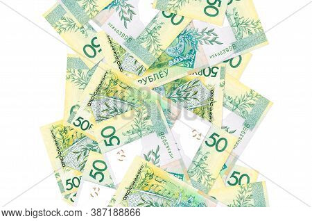 50 Belorussian Rubles Bills Flying Down Isolated On White. Many Banknotes Falling With White Copyspa