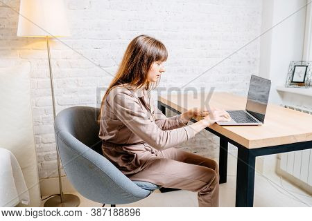 Posture Concept. Man Working With Computer At Office. Passive Lifestyle, Incorrect Posture, Neck And