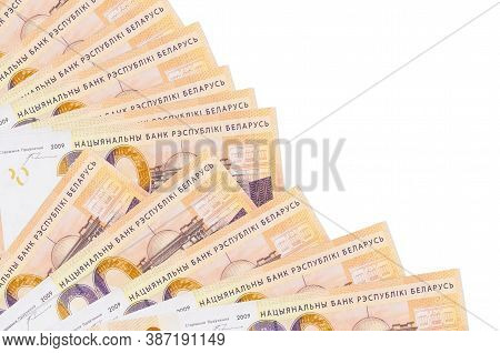 20 Belorussian Rubles Bills Lies Isolated On White Background With Copy Space Stacked In Fan Close U