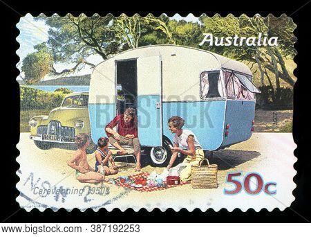 Australia - Circa 2007: A Stamp Printed In Australia Shows Family Enjoying A Caravan Of The 50s, Car