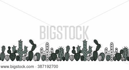 Hand Drawn Seamless Cactus Border . Horizontal Illustration. Vector Cactus Background For Paper, Pos
