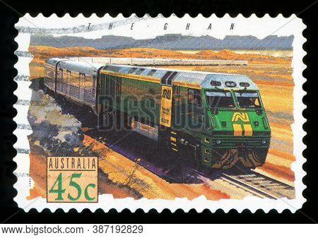 Australia - Circa 1993: Cancelled Postage Stamp From Australia Illustrating Trains, Issued In 1993.