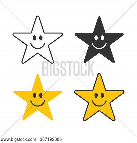 Smiling Star Face Vector Icon Symbol. Yellow Smile Button Sign. Simple Flat Shape Happy Emotion Logo