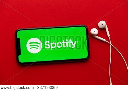 Tula, Russia - September 08, 2020: Spotify Logo On Iphone Display