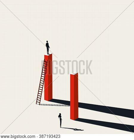 Business Inequality, Gender Gap Vector Concept With Man At Advantage. Symbol Of Discrimination, Diff