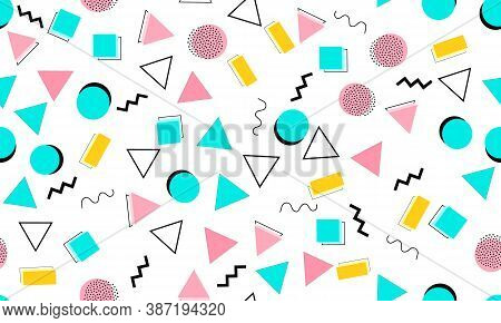 Doodle Fun Background. Seamless Pattern. Summer Doodle Backdrop. Seamless 90s. Memphis Pattern. Vect