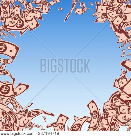 Russian Ruble Notes Falling. Messy Rub Bills On Blue Sky Background. Russia Money. Bewitching Vector