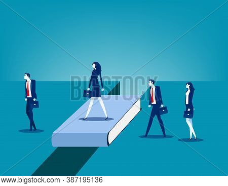 Business People Bridging The Gap. Business Connection Concept. Education