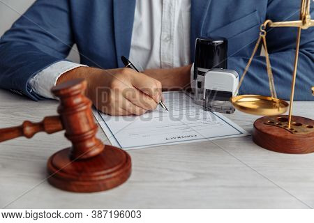 Notary Man Working At Office. Notary Public Tools