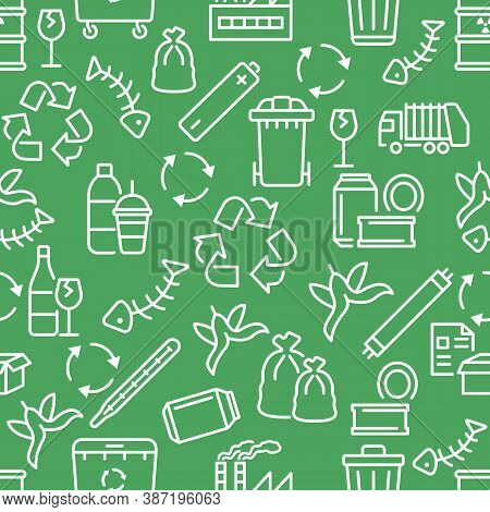 Recycling And Sorting Of Waste Seamless Pattern With Flat Line White Icons On Green Background. Garb