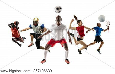 Collage Of Different Professional Sportsmen, Fit Men And Women In Action And Motion Isolated On Whit