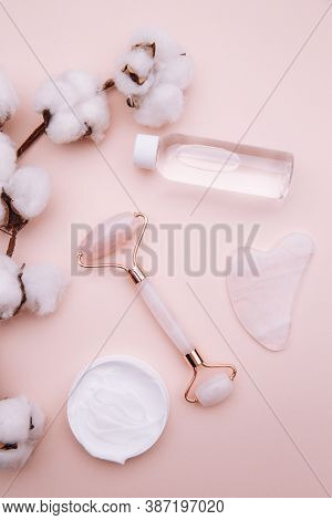 Selfcare, Relaxation And Beauty Care Concept. Modern Apothecary Or Home Spa Composition On Pink Back