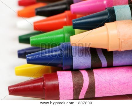 Macro Profile Shot Of Colorful Crayons